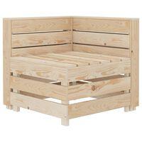 vidaXL Kampinė sodo sofa iš palečių, mediena
