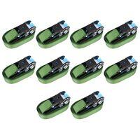 vidaXL Reketo tvirtinamieji dirželiai, 10vnt., žalios spalvos, 800daN