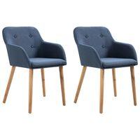 vidaXL Valgomojo kėdės, 2 vnt., mėlynas audinys ir ąžuolo med. mas.