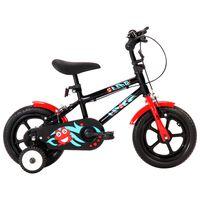 vidaXL Vaikiškas dviratis, juodos ir raudonos spalvos, 12 colių ratai