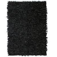 vidaXL Shaggy tipo kilimėlis, natūrali oda, 80x160 cm, juodas