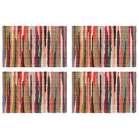 vidaXL Stalo kilimėliai, 4 vnt., spalvoti, 30x45cm, perdirbta medvilnė