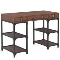 vidaXL Rašomasis stalas su 3 stalčiais, 110x50x78, eglės med. masyvas