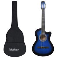 """vidaXL Akustinės gitaros rinkinys, 12 dalių, mėlyna, 38"""", 6 stygos"""