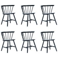 vidaXL Valgomojo kėdės, 6 vnt., juod. sp., kaučiukmedžio med. masyvas