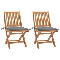 vidaXL Garden Chairs 2 pcs with Grey Cushions Solid Teak Wood (315105+314004)