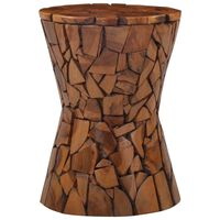 vidaXL Mozaikinė taburetė, rudos spalvos, tikmedžio medienos masyvas