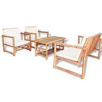 vidaXL Sodo poilsio baldų komplektas su pag., 4d., bambukas
