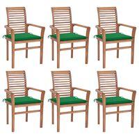 vidaXL Valgomojo kėdės su žaliomis pagalvėlėmis, 6vnt., tikmedis