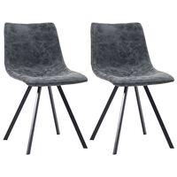 vidaXL Valgomojo kėdės, 2 vnt., juodos spalvos, dirbtinė oda