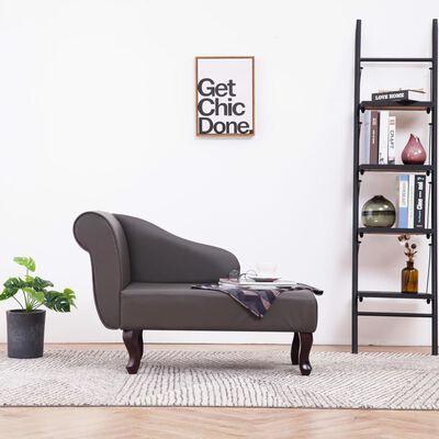 vidaXL Poilsio gultas, pilkas, dirbtinė oda