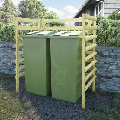 vidaXL Dviguba konteinerių pastogė, žalia, 140x80x150cm, pušis