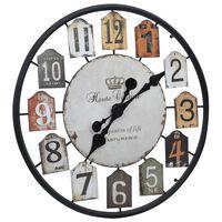 vidaXL Sieninis laikrodis, įvairiaspalvis, 51cm, geležis