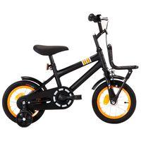 vidaXL Vaikiškas dviratis su priekine bagažine, juodas ir oranžinis