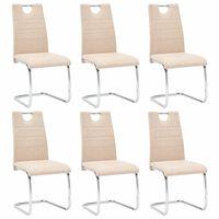 vidaXL Valgomojo kėdės, 6 vnt., kreminės spalvos, dirbtinė oda