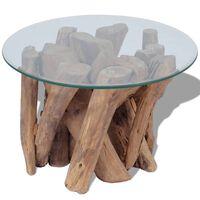 vidaXL Kavos staliukas, masyvi tikmedžio mediena, 60 cm