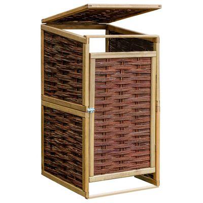 vidaXL Vienvietė konteinerio stoginė, pušies mediena ir vytelės