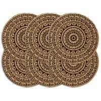 vidaXL Stalo kilimėliai, 6 vnt., tamsiai rudi, 38cm, džiutas