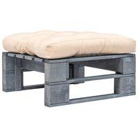 vidaXL Otomanė iš paletės su smėlio spalvos pagalve, pilka, mediena