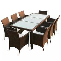 vidaXL Lauko valg. baldų komplekt. su pagalv., 9d., rudas, polirat.