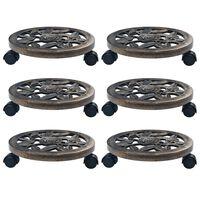 vidaXL Augalų padėklai su ratukais, 6vnt., bronziniai, 30cm, plastikas
