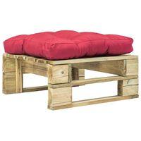 vidaXL Sodo otomanė iš paletės su raudona pagalvėle, žalia, mediena