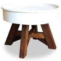 vidaXL Kavos staliukas, baltos sp., 60x45cm, perdirbtos med. masyvas