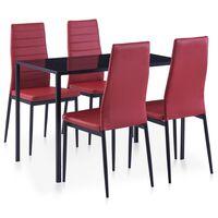 vidaXL Valgomojo baldų rinkinys, raudonojo vyno spalvos, penkių dalių