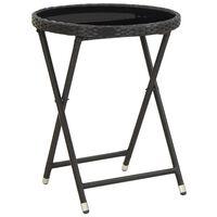 vidaXL Arbatos staliukas, juodas, 60cm, poliratanas ir grūdintas stiklas