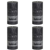 Bolsius Kaimiško stiliaus žvakės, 4vnt., antracito, 200x100mm