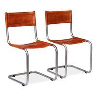 vidaXL Valgomojo kėdės, 2 vnt., rudos, tikra oda