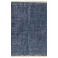vidaXL Kilimas Kilim, mėlynos spalvos, 200x290 cm, medvilnė