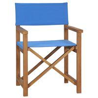 vidaXL Režisieriaus kėdė, mėlynos spalvos, tikmedžio medienos masyvas