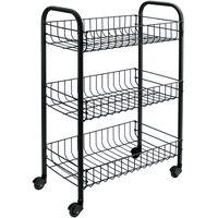 Metaltex Virtuvės vežimėlis su 3 krepšiais Siena, juodos spalvos