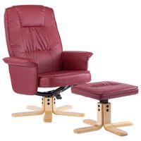 vidaXL Krėslas su pakoja, raudonojo vyno spalvos, dirbtinė oda