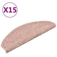 vidaXL Laiptų kilimėliai, 15vnt., šviesiai rožinės spalvos, 65x21x4cm