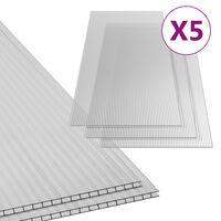 vidaXL Polikarbonato lakštai, 5vnt., 150x65cm, 6mm