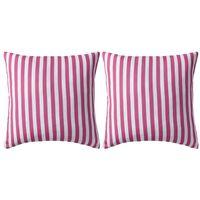 vidaXL Lauko pagalvės, 2 vnt., rožinės spalvos, 45x45cm, dryžuotos