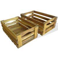 vidaXL Dėžių obuoliams rinkinys, 2 vnt., masyvi akacijos mediena