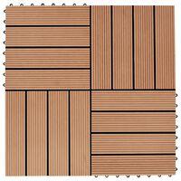 vidaXL Grindų plytelės, 22 vnt., tikmedžio sp., 30x30 cm, 2m², WPC