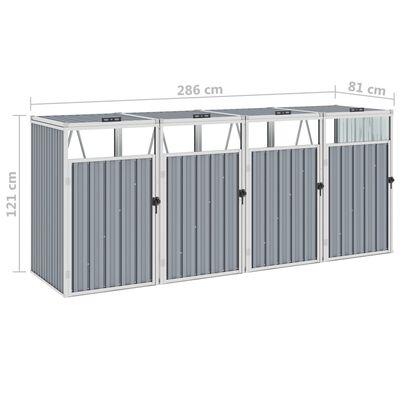 vidaXL Konteinerių stoginė, pilka, 286x81x121cm, keturvietė