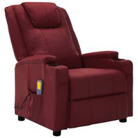 vidaXL Atlošiamas masažinis krėslas, raudonojo vyno, dirbtinė oda