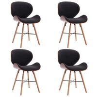vidaXL Valgomojo kėdės, 4 vnt., tamsiai pilkos, audinys ir mediena