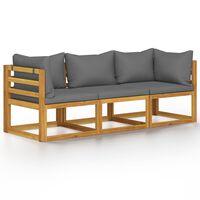 vidaXL Trivietė sodo sofa su pagalvėlėmis, akacijos medienos masyvas