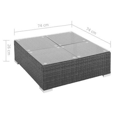 vidaXL Sodo poilsio baldų komplektas su pag., 7d., juod. sp., polir.