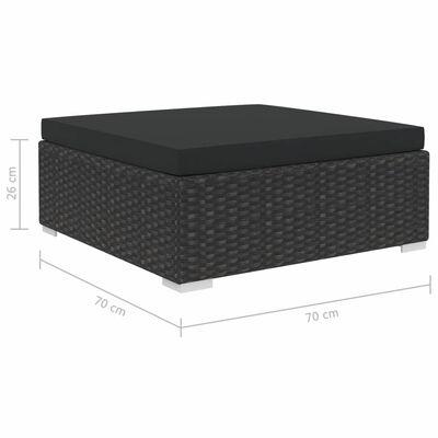vidaXL Sodo baldų komplektas su pagalvėlėmis, 7 dalių, juodas, ratanas