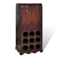 vidaXL Vyno butelių laikiklis skirtas 9 buteliams su spintele, mediena