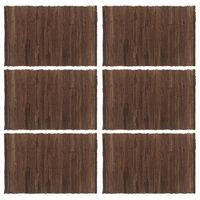 vidaXL Stalo kilimėliai, 6 vnt., vienspalviai rudi, 30x45cm, medvilnė