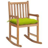 vidaXL Supama kėdė su šviesiai žalia pagalvėle, tikmedžio masyvas