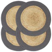 vidaXL Stalo kilimėliai, 4 vnt., natūralios ir antracito spalvų, 38cm